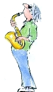 Saxophone player and link to the March event